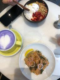 Taro latte • Salmon toast • smoothie bowl