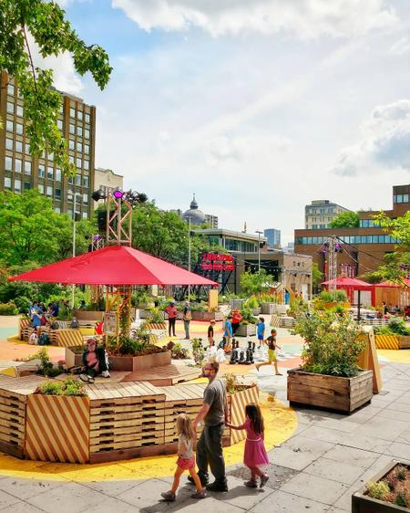 Cover of Cafés around the Jardins Gamelin in downtown Montreal