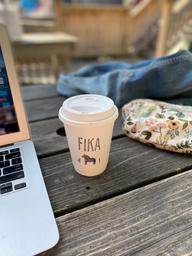 Sipping this oat latte while enjoying this sunny patio at Fika!