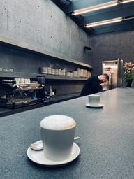 Very foamy cappuccino with extra minimalistic atmosphere. Great place to shop and chill.