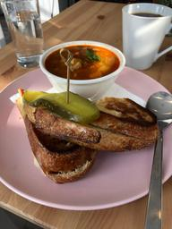 Super delicious homemade food! The grilled cheese was on a freshly baked bread and actually had lots of cheese in it! It was gooey and delicious! I had the spicy chickpea soup which is vegan and not too spicy. Their filter coffee is delicious and the overall ambiance is cozy and fun! 100% recommand for studying lonng hours or a good meal and coffee!