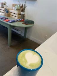 Yummy matcha latte and the cutest petit marché!