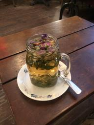 I had a Persian Tea Lattée and later on I had a rose tea. Both were delicious and the environment was cozy.