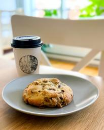 """Great latte and biscuit """"mason"""" from Bernice. Perfect for the mid-week morning crash."""