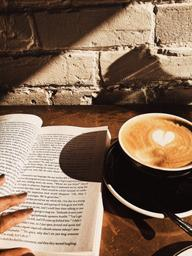 Latte & book of the month in the nicest neighborhood !